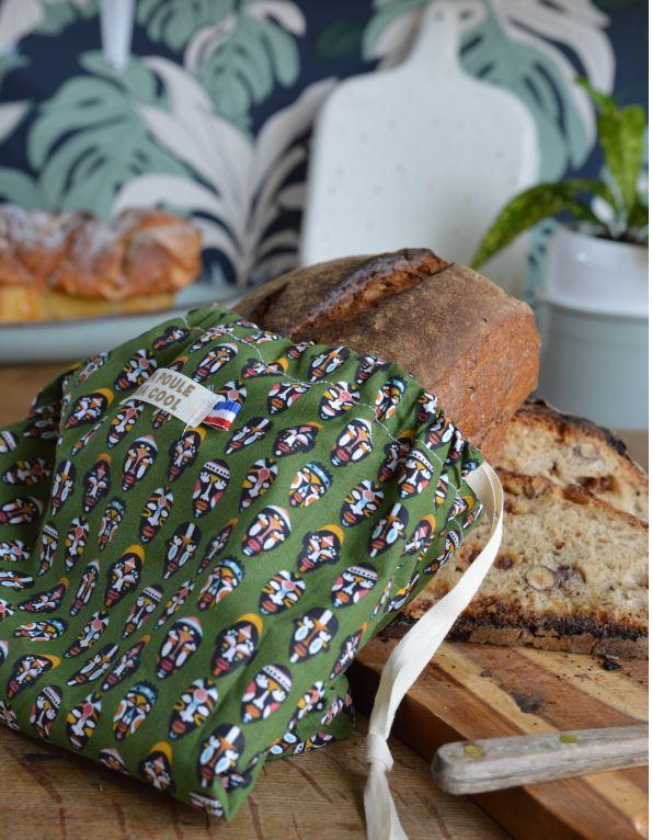 sac à pain en tissu Coton imprimé et fabriqué en France pour conserver une miche de pain