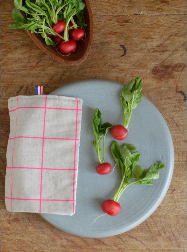Serviette de table pur lin fabriqué en France carreaux fluo rose